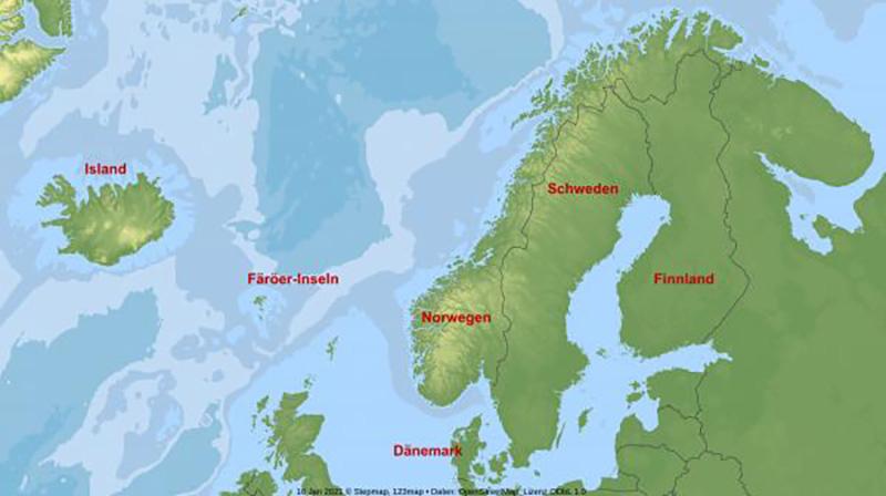 Karte Skandinavien interaktiv